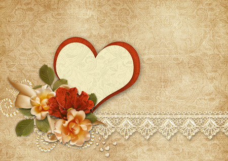 Vintage background with roses and heart.Valentines card. photo