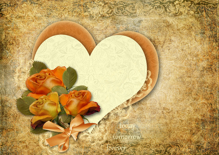 Grunge background with roses and heart.Valentines card. photo
