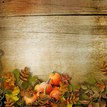 harvest background: Pumpkins and autumn leaves on the wooden background