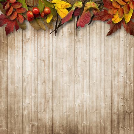 Autumn leaves border on vintage wooden background Imagens - 44233003