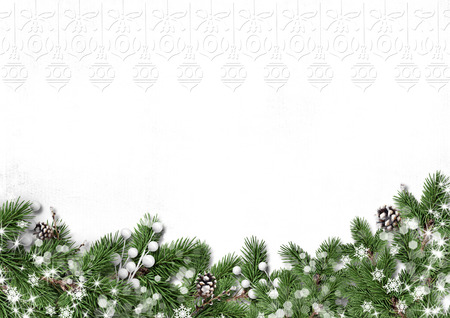 Winter tree border with decorations isolated on white background Фото со стока