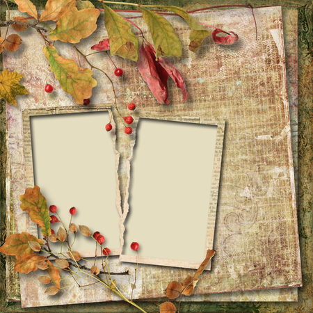 vecchia cornice: Vintage autumn background with old frame