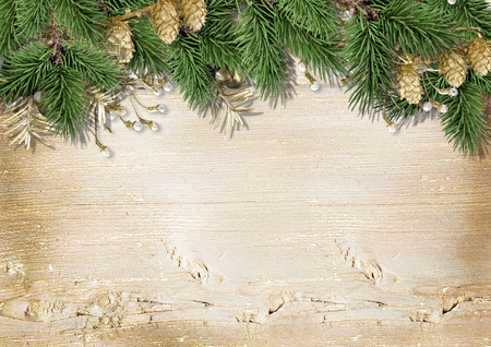 framework: Vintage Christmas wood background with decorations Stock Photo