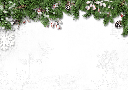bright borders: Christmas white background with decorations, holly and branches