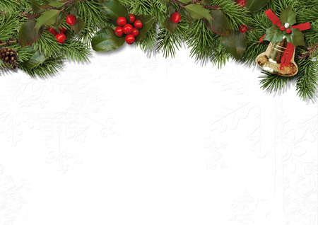 pine decoration: Christmas border branches and holly on white background Stock Photo