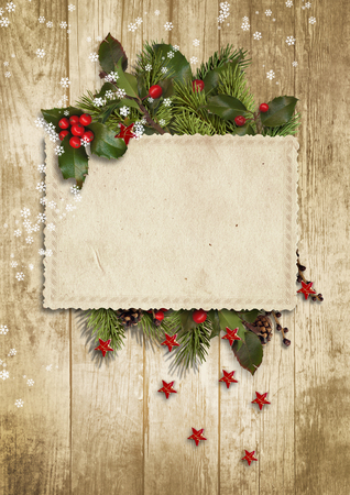 christmas backdrop: Christmas vintage card with holly, firtree