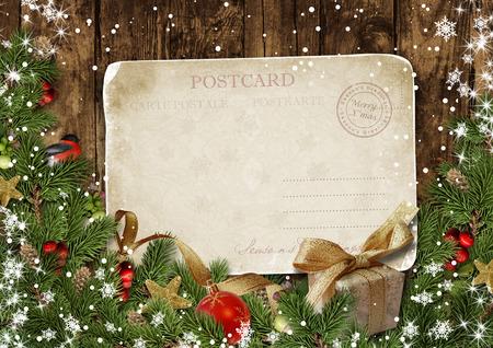 red ball: Christmas vintage postcard with decor on wood Stock Photo
