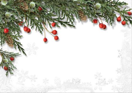 motivos navide�os: Frontera de la Navidad con acebo aislado en blanco