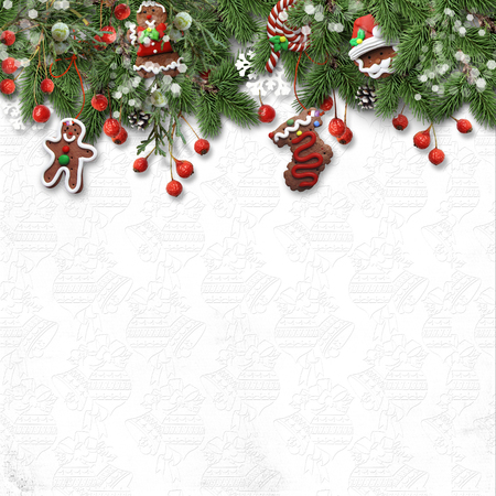 white winter: Christmas fir tree with cookie, holly and decoration on white