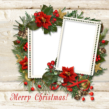 fir tree: Christmas frame with border of holly, poinsettia, fir tree, cones on wood.