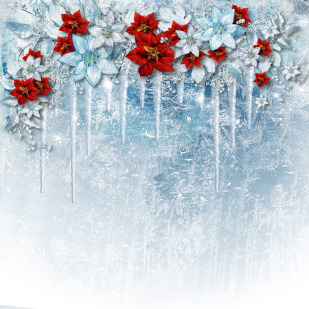 icicles: Christmas gorgeous flowers on ice background with icicles. Stock Photo