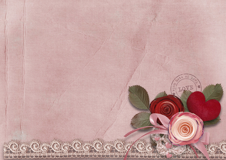 photoalbum: Vintage card with red heart and roses