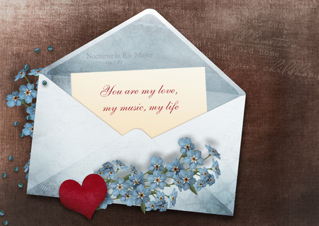 declaration of love: Valentines card with a declaration of love in vintage style