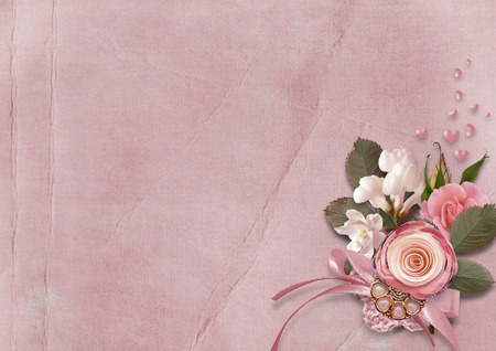 레드 하트와 장미와 빈티지 카드 스톡 콘텐츠 - 53864540