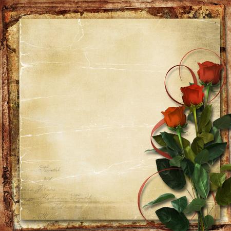 flower border: Grunge background with roses