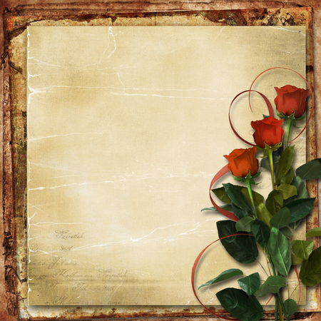 borde de flores: Grunge fondo con rosas