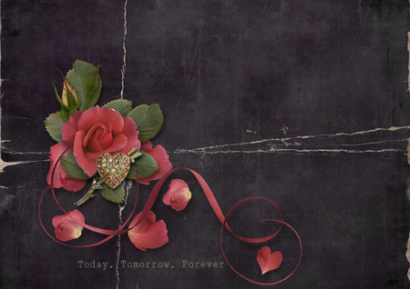 flower banner: Grunge card with roses and heart