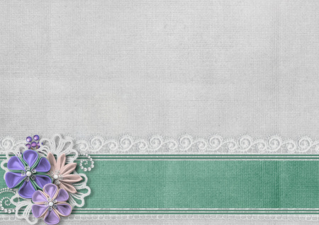 retro lace: Textured background with border and handmade flowers Stock Photo