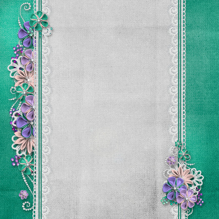 gray flower: Vintage background with handmade flowers and lace