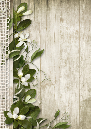 Vintage background with spring flowers on wood