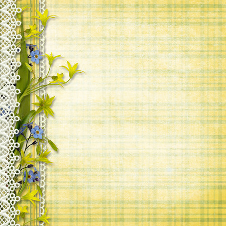 bordure de page: Vintage background avec des fleurs de printemps Banque d'images