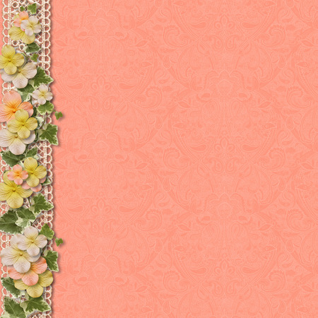 photoalbum: Vintage background with a border of flowers