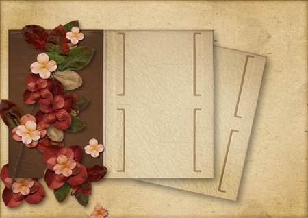 tittle: Vintage background with flowers and old album Stock Photo