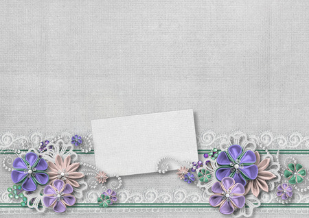 pearl: Vintage background with a border of flowers handmade