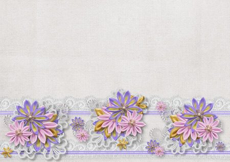 photoalbum: Vintage background with a border of flowers handmade
