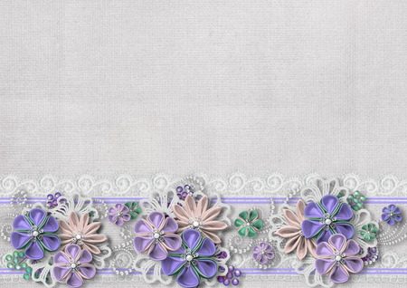 vintage lace: Vintage background with handmade flowers and lace