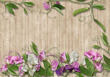 turba: Fondo de madera con borde de hermosas flores Foto de archivo