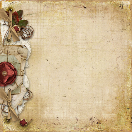 Vintage background with old card and decorations Stock Photo