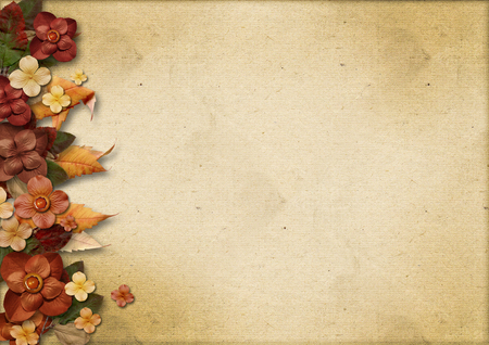 vintage paper: Vintage background with flowers and autumn leaves