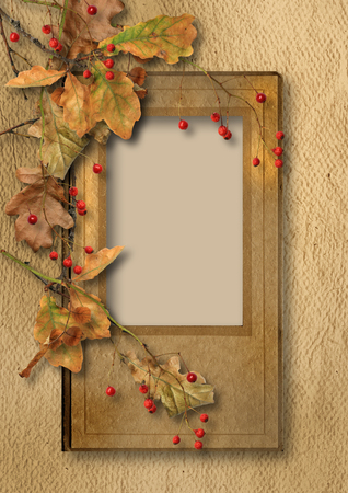 ashberry: Vintage background with faded autumn leaves and ashberry