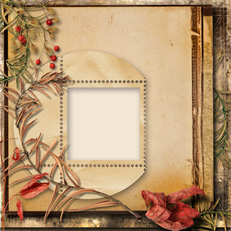 photoalbum: Grunge background with autumn bouquet and a frame for photos