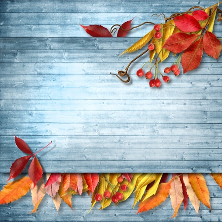 Autumn vintage floral background with place for your text
