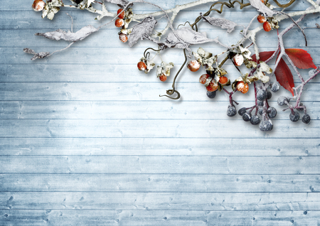 Vintage wooden background with snowy branches and berries