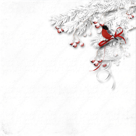 snowy: Winter texture with snowy red berries and bullfinch