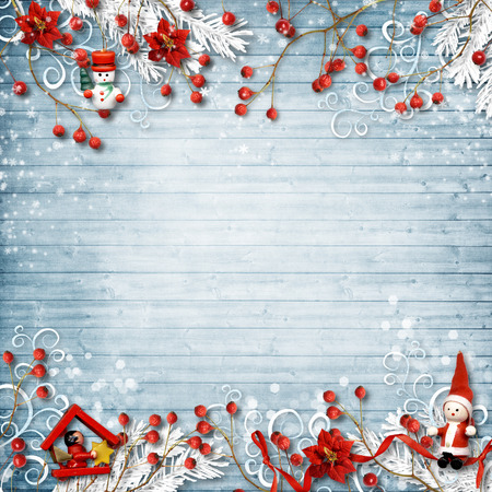 christmas postcard: Christmas background with a border of red berries and decor
