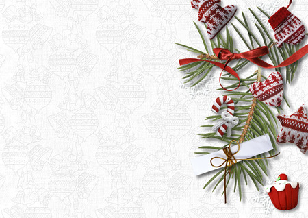 sweet background: Christmas background with cozy sweet decorations on white backdrop, postcard