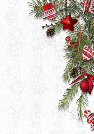 postcard background: Christmas background with cozy sweet decorations on white backdrop, postcard