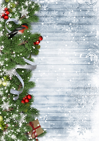 postcard background: Christmas border with bullfinch and holly on wood background, postcard
