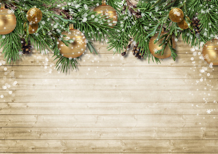 firtree: Christmas background with decorations and firtree on wooden board