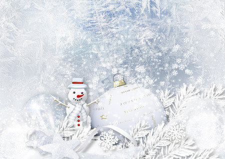 frosty: Winter icy background with Christmas decorations and snowman