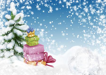 navidad elegante: Árbol de Navidad fresco con cajas presentes en el paisaje de invierno