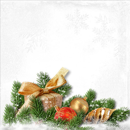textured paper: Christmas background with decorations on white textured paper