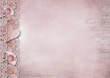 Retro vintage romantic background with roses and heart