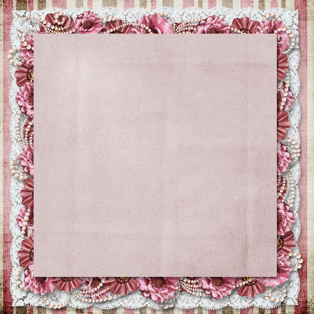 vintage border: Vintage background with a border of flowers and lace