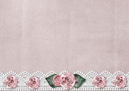 Delicate vintage background with a border of silk roses Stock Photo