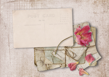 photo album: Vintage card with rose on old paper Stock Photo